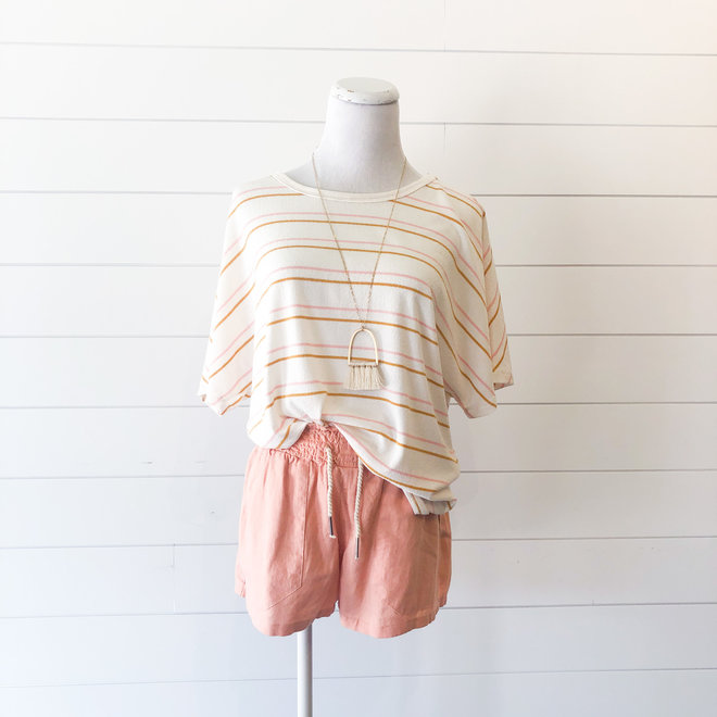 Work from Home Striped Twisted Back Top
