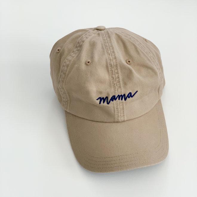 Tan Mama Hat Navy Thread