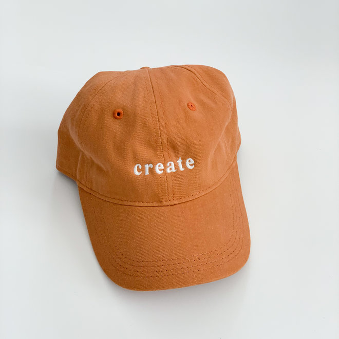 Orange Create Hat White Thread