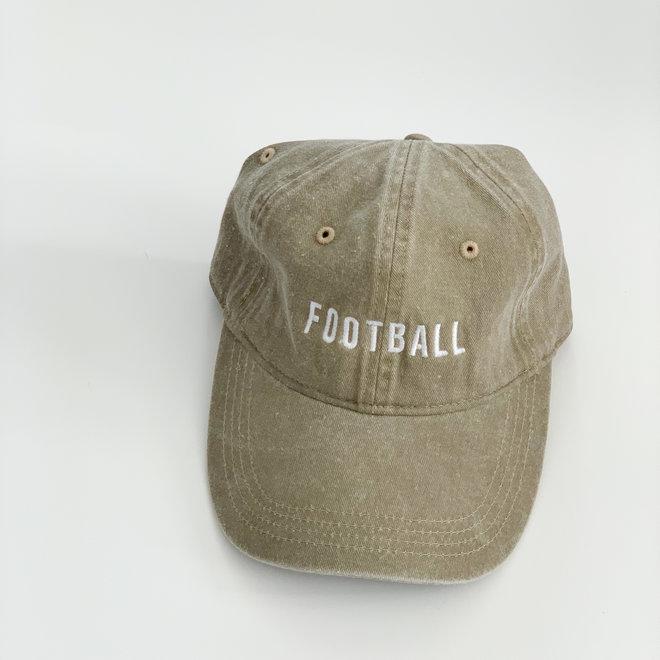 Tan Football Hat White Thread