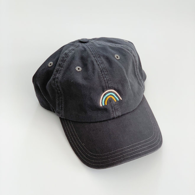 Grey Illustrated Rainbow Hat