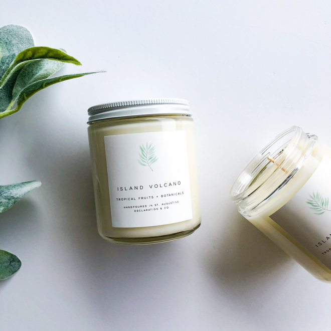 Island Volcano Classic Illustrated Candle