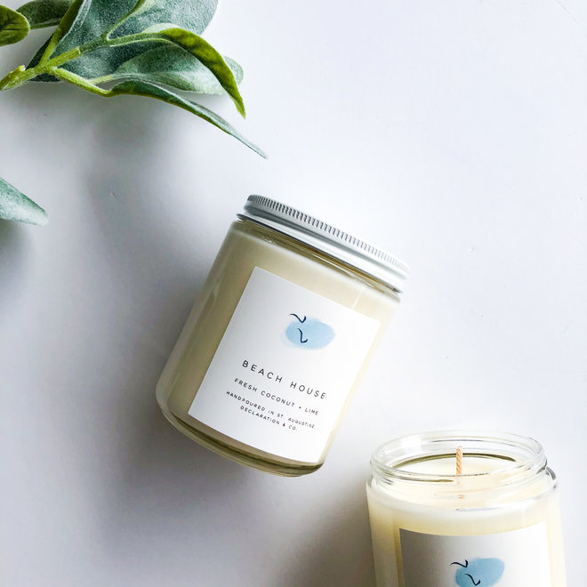 Beach House Classic Illustrated Candle