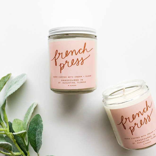 French Press Script Candle