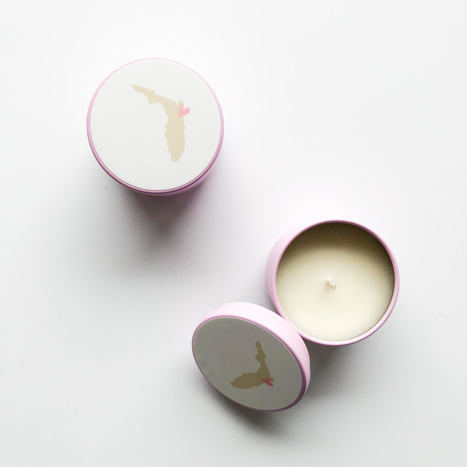 Pink Florida Heart Tiny Tin Candle