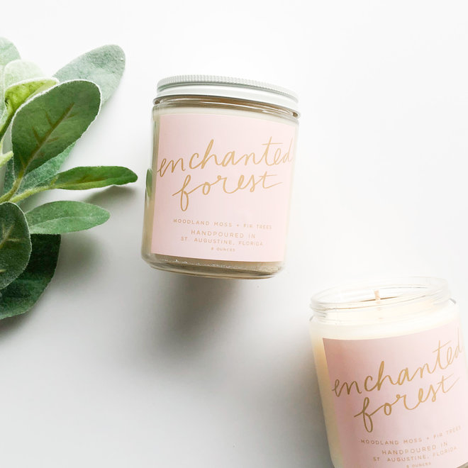 Enchanted Forest Script Candle
