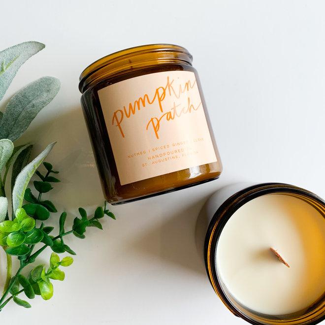 Pumpkin Patch 16 oz . Amber Jar Wood Wick
