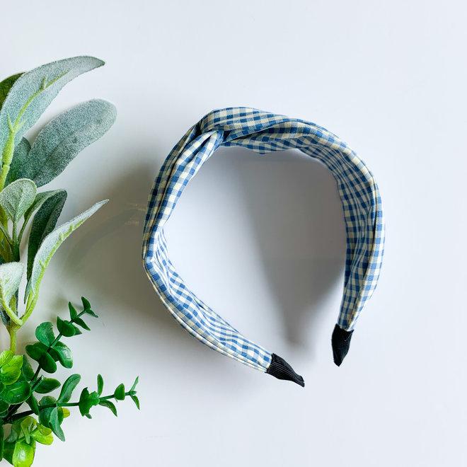 Gingham Knot Headband Blue