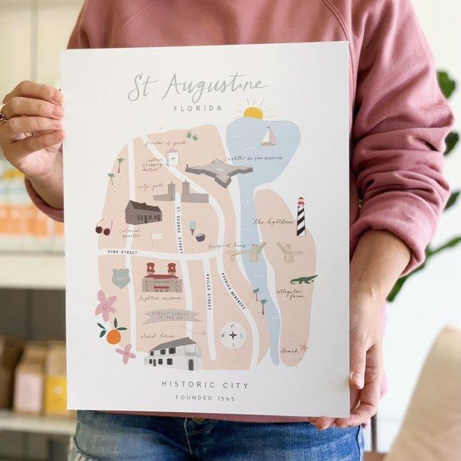 Declaration & Co. 8x10 Print St. Augustine Map