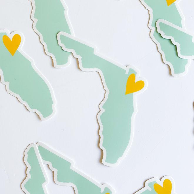 Mint & Yellow Florida Heart Sticker
