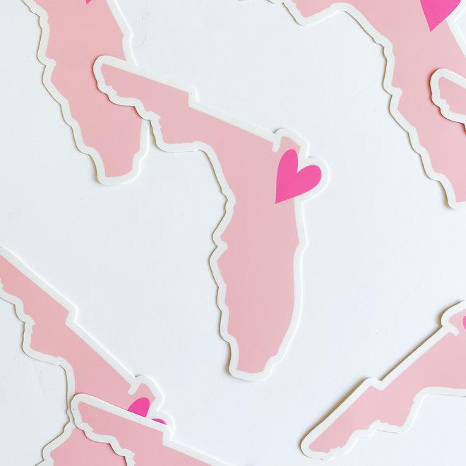 Pink Florida Heart Sticker