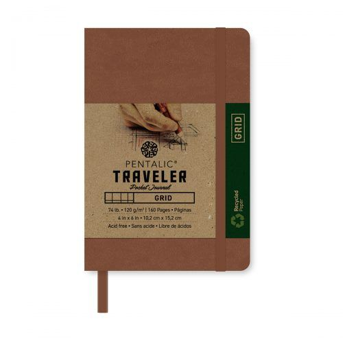 PENTALIC PENTALIC TRAVELER POCKET JOURNAL GRID 6X4 BROWN