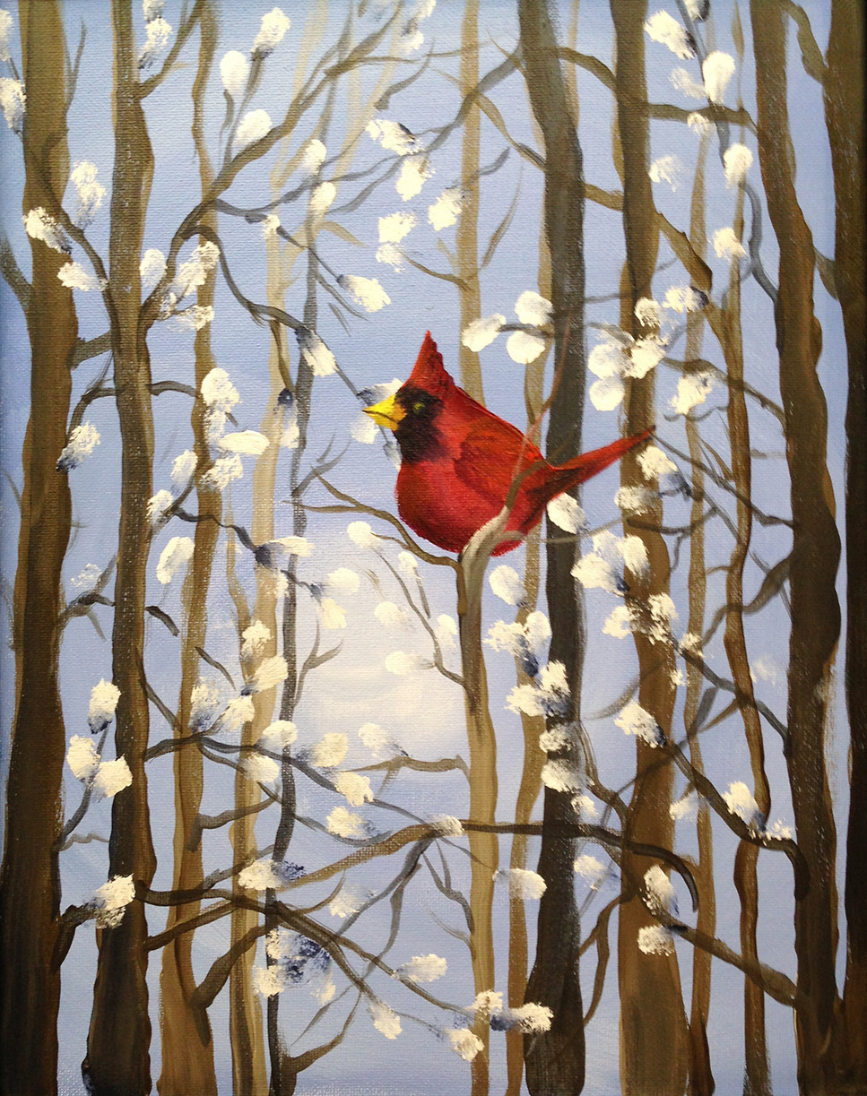 ART CLASS - PUSSY WILLOWS AND CARDINAL IN ACRYLICS WITH JANET CARDINAL - APRIL 16, 6-9PM