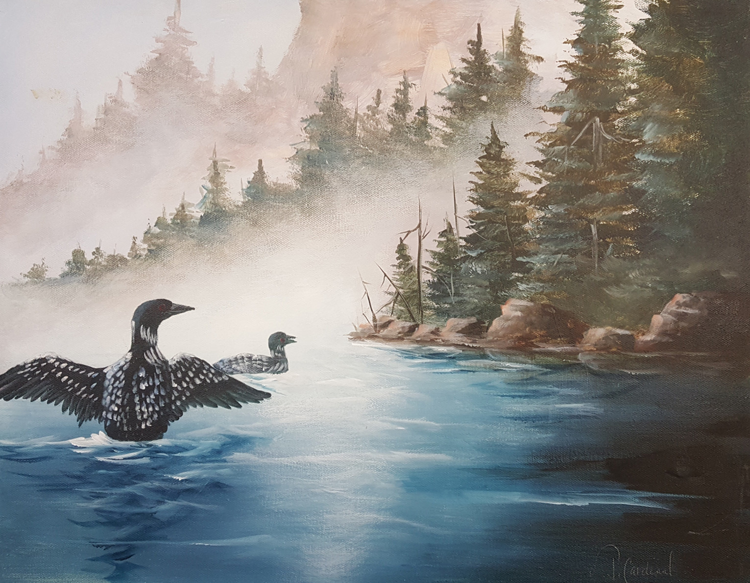 ART CLASS - LOONS IN MIST IN ACRYLICS WITH JANET CARDINAL - JUNE 11, 6-9PM