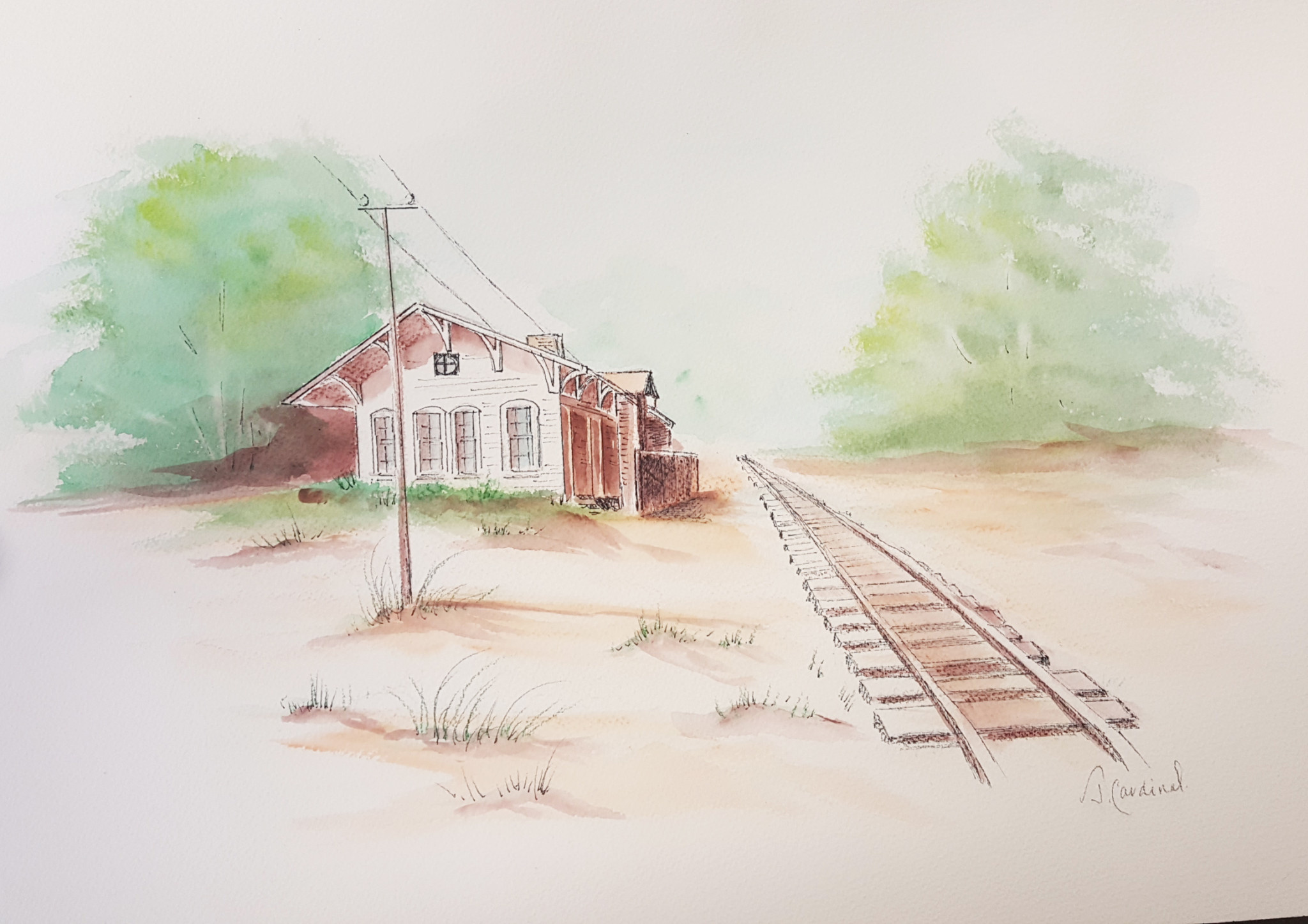 ART CLASS - BEYOND THE TRACKS IN WATERCOLOUR WITH JANET CARDINAL, AUGUST 13, 6 - 9PM