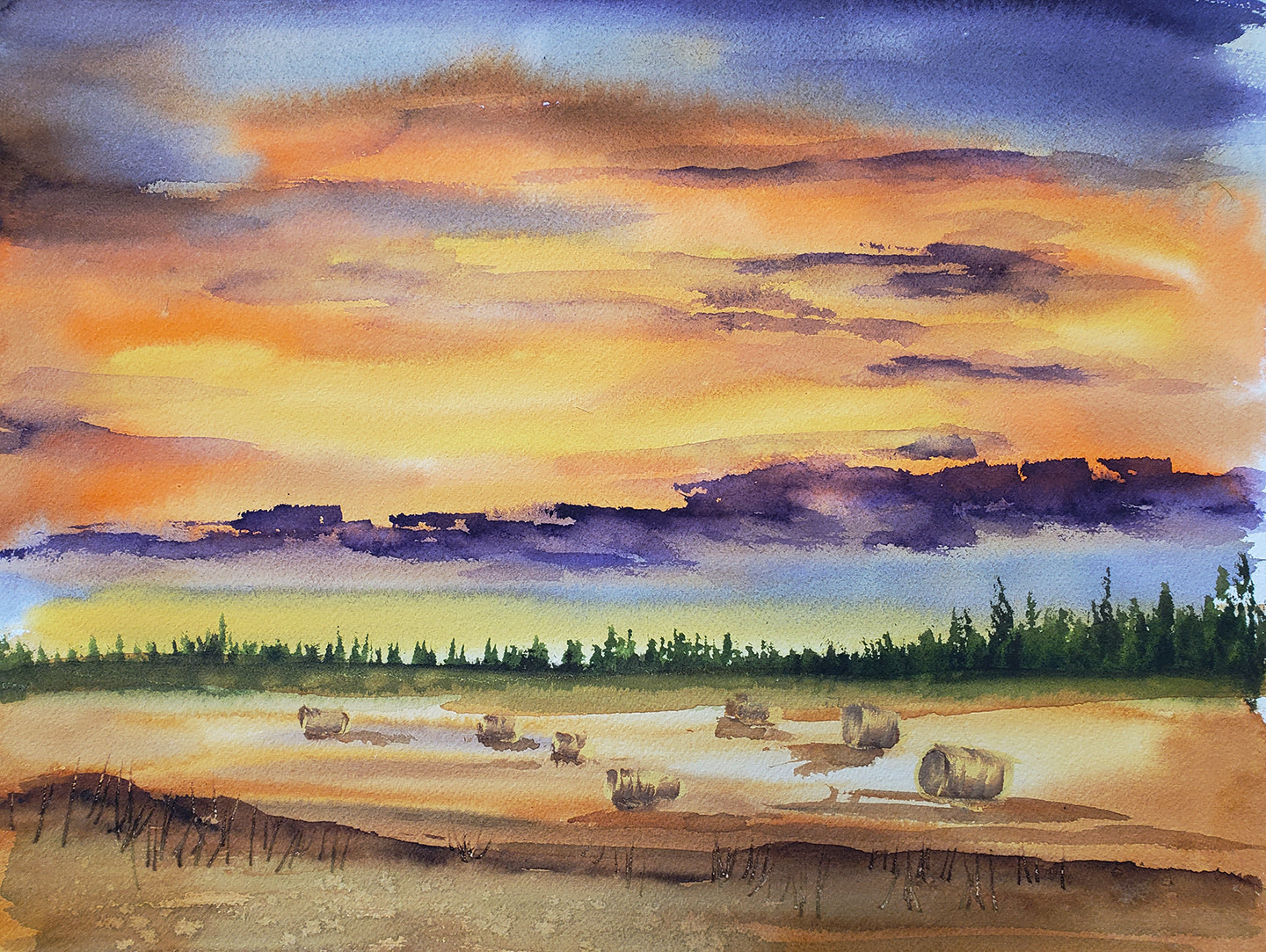 ART CLASS - PRAIRIE SKY WITH HAY BALES IN WATERCOLOUR, SEPTEMBER 10 6-9PM