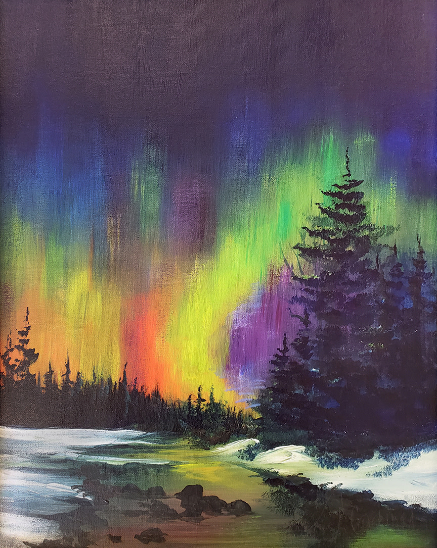 ART CLASS - NORTHERN LIGHTS IN ACRYLICS, OCTOBER 15, 6-9PM