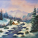 ART CLASS - WINTER MOUNTAINS WITH A COZY CABIN   - DEC. 10, 6-9 PM