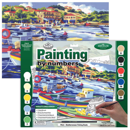 ROYAL & LANGNICKEL PAINT BY NUMBERS MEDITERRANEAN FISHING BOATS