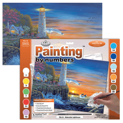 ROYAL & LANGNICKEL PAINT BY NUMBERS WATERSIDE LIGHTHOUSE