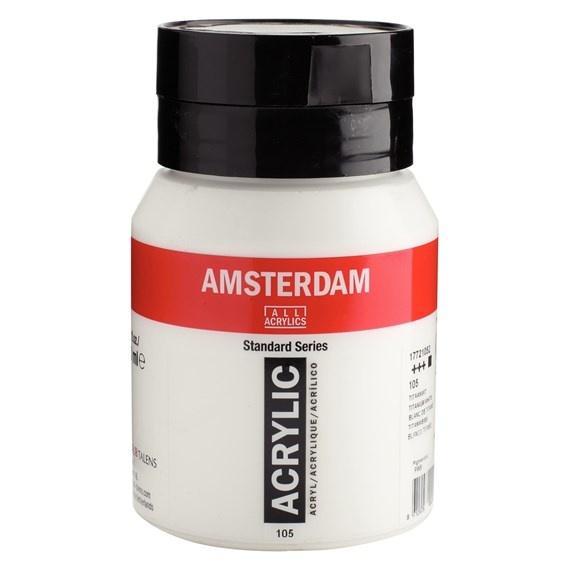 ROYAL TALENS AMSTERDAM ACRYLIC 500ML TITANIUM WHITE