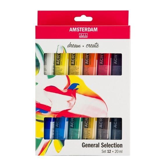 AMSTERDAM ACRYLIC 20ML SET/12 GENERAL SELECTION