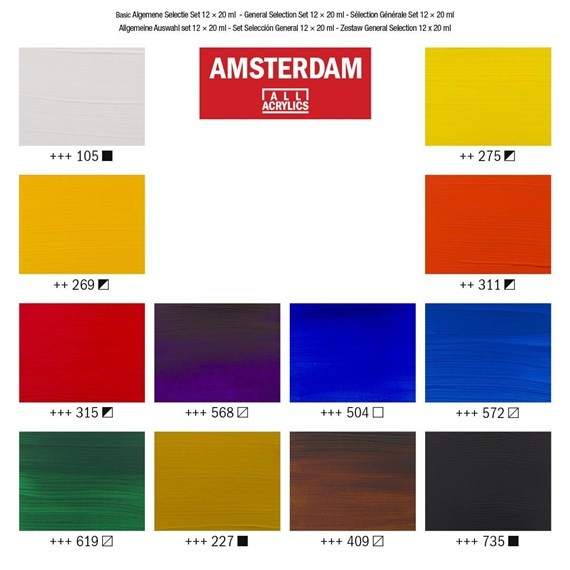 AMSTERDAM ACRYLIC 0.68OZ SET/12 GENERAL SELECTION