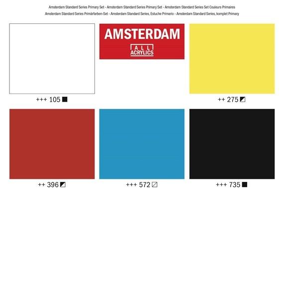 AMSTERDAM ACRYLIC 120ML SET/5 PRIMARY