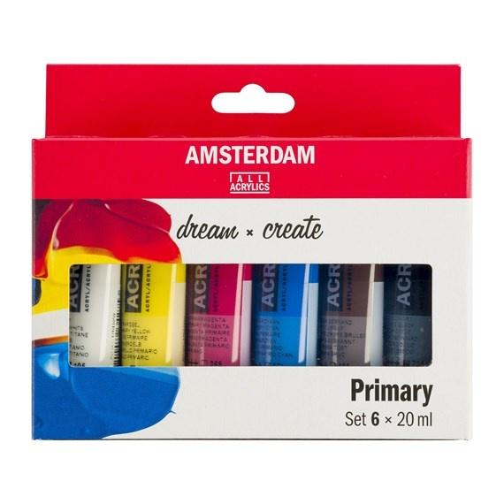 AMSTERDAM ACRYLIC 20ML SET/6 PRIMARY