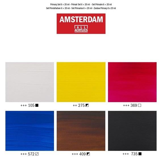 AMSTERDAM ACRYLIC 0.68OZ SET/6 PRIMARY
