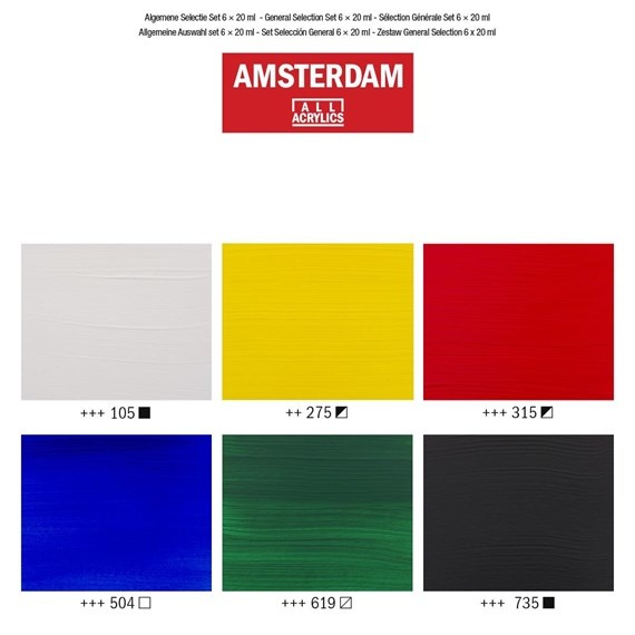 AMSTERDAM ACRYLIC 0.68OZ SET/6 GENERAL SELECTION