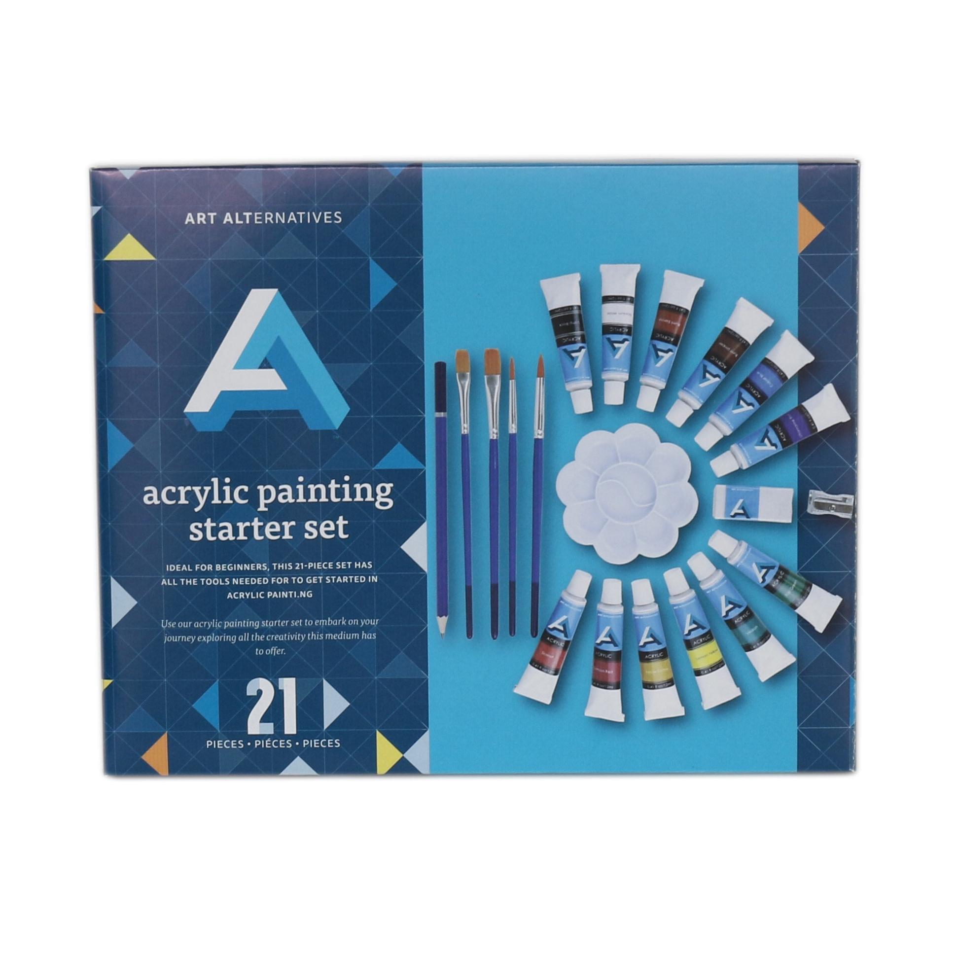ART ALTERNATIVES ACRYLIC PAINTING STARTER SET 21/PC