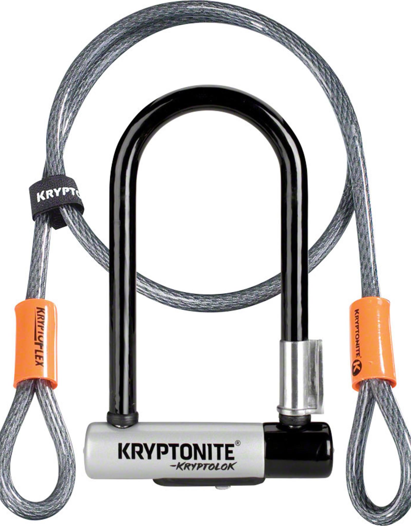 Kryptonite U-Lock Kryptolok Mini-7 3.25x7 w/4ft-Cable and Bracket