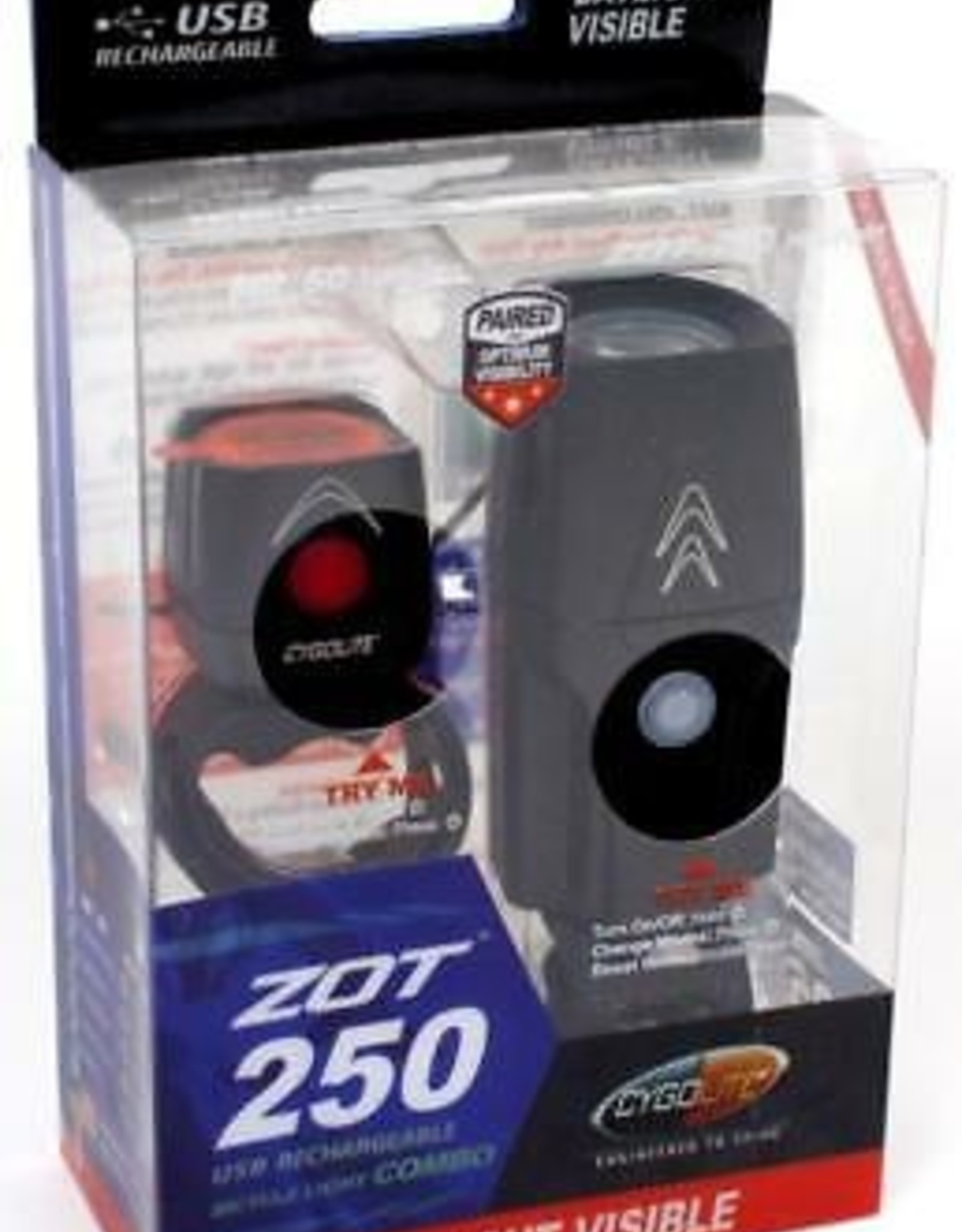 Cygolite Zot 250 Headlight and Dice TL 50 Taillight Rechargeable Light Set