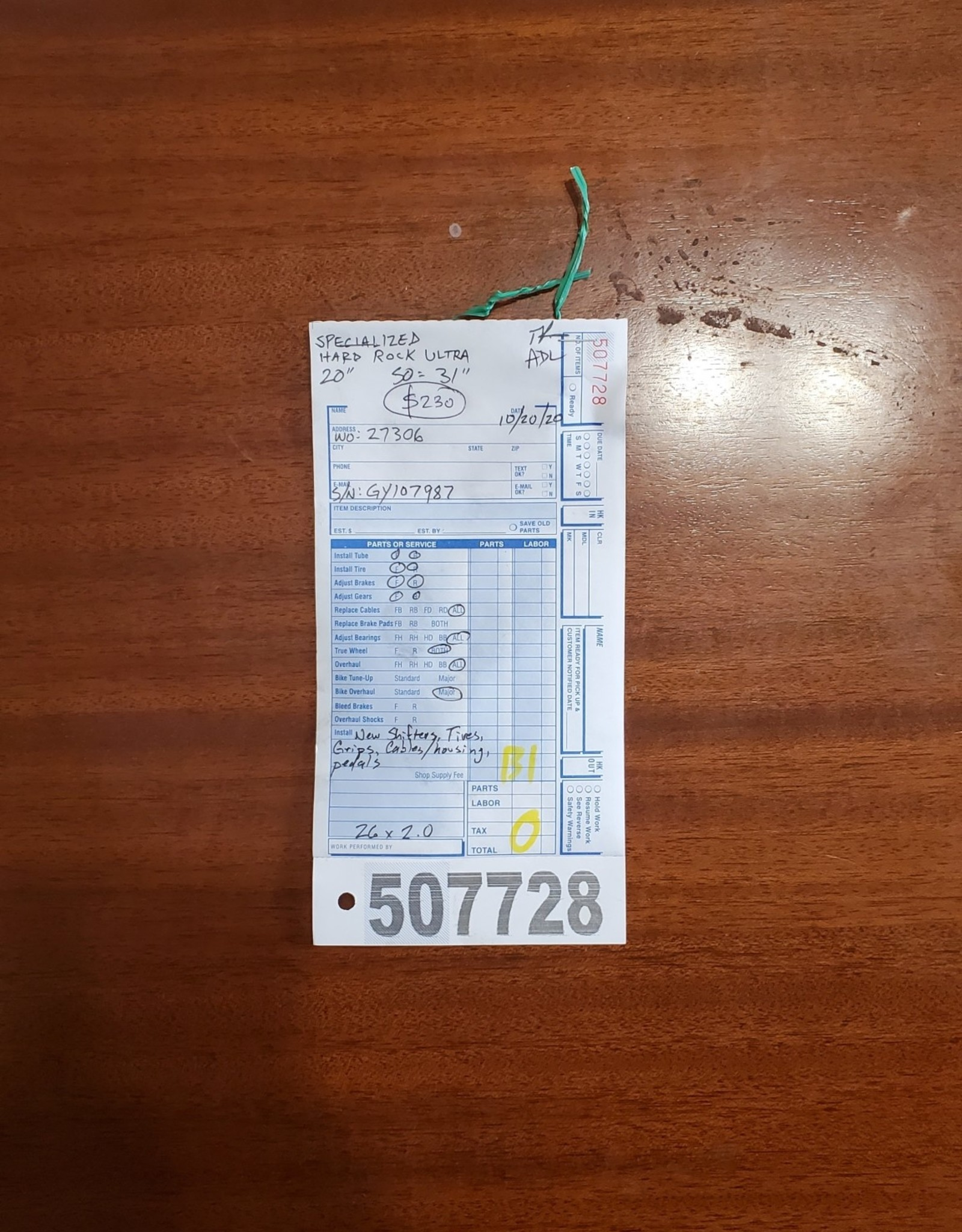 """20"""" Specialized Hardrock Ultra (9787 B1U)"""