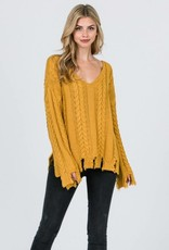 Twisted Knitted V-Neck Sweater
