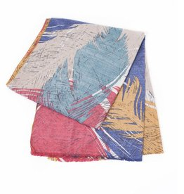 f24d8135a5c Red Cashmere Blended Feather Print Scarf