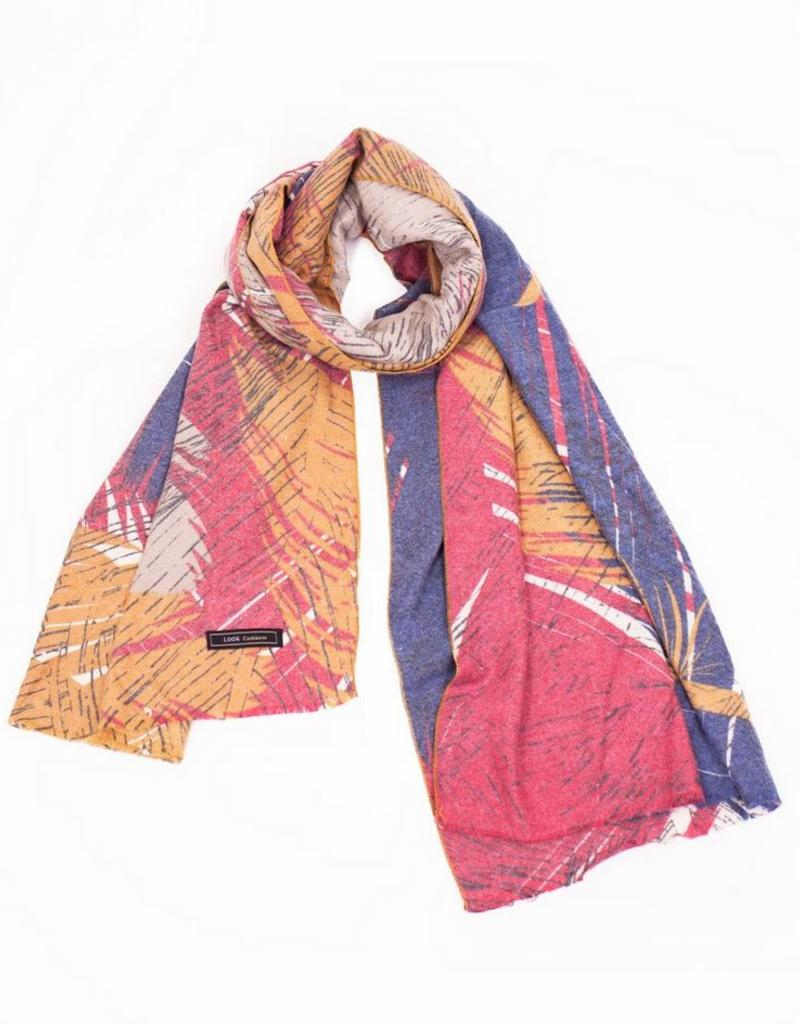 Red Cashmere Blended Feather Print Scarf