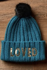 LOVED knit beanie with fur pom