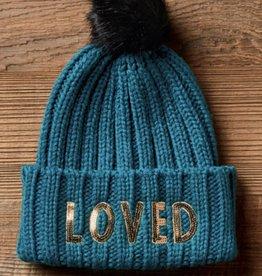 San  Diego Hat LOVED knit beanie with fur pom
