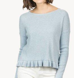 Lilla P Ruffle Hem Boatneck Sweater