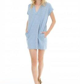 Bobi Short Sleeve Dolman V-Neck Dress