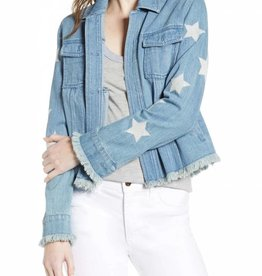 Cupcakes & Cashmere Affleck Embroidered Star Denim Jacket