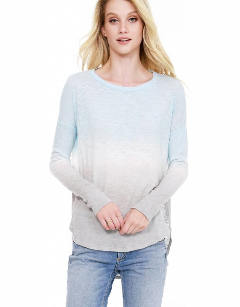 Bobi Long Sleeve Curved Hem Top