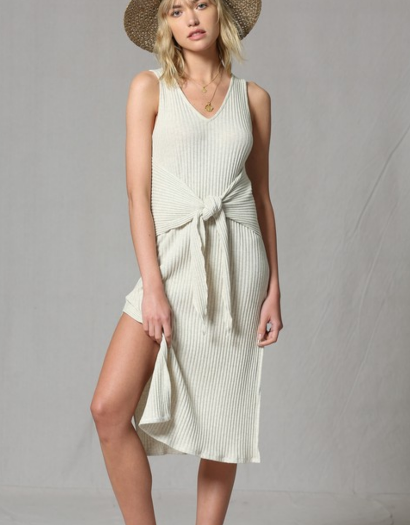 By Together Sleeveless Tie Front Midi Dress