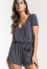 Z Supply Micro Stripe Surplice Romper