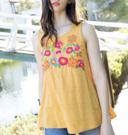 THML Sleeveless Embroidered Top