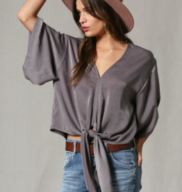 By Together Dolman Front Tie Satin Top