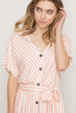 Belted Buttoned Front Midi Dress