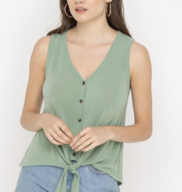Button Down Tie Tank Top